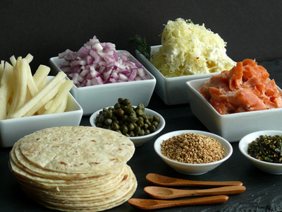 smoked-salmon-brunch-taco-bar-layout-of-ingredients